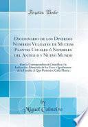 libro Diccionario De Los Diversos Nombres Vulgares De Muchas Plantas Usuales ó Notables Del Antiguo Y Nuevo Mundo