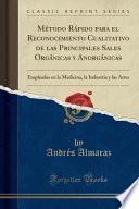 libro Método Rápido Para El Reconocimiento Cualitativo De Las Principales Sales Orgánicas Y Anorgánicas