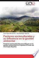 libro Factores Socioculturales Y Su Influencia En La Gestión Ambiental