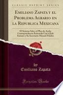 libro Emiliano Zapata Y El Problema Agrario En La Republica Mexicana