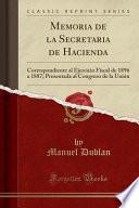 Descargar el libro libro Memoria De La Secretaria De Hacienda